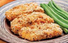 Kotlet rybny z fasolką szparagową i ziemniakami